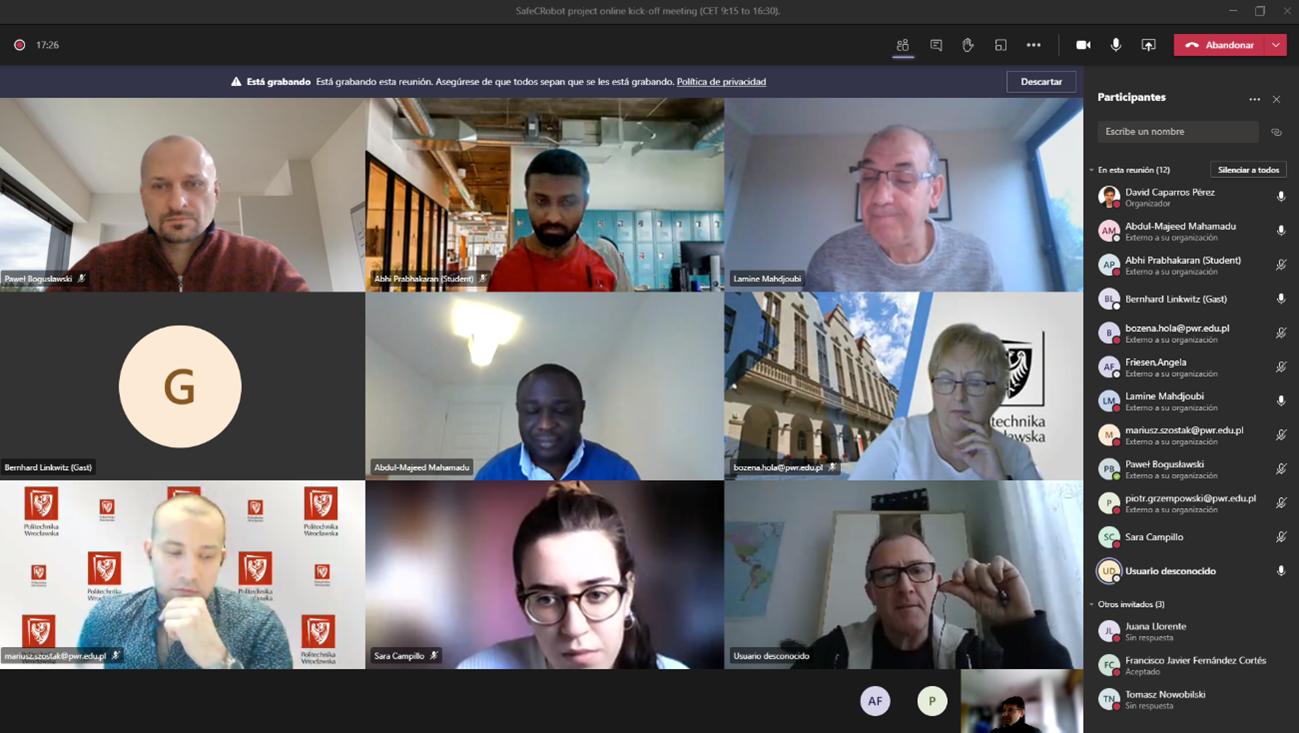 Celebrada la primera reunión online del proyecto europeo SafeCRobot