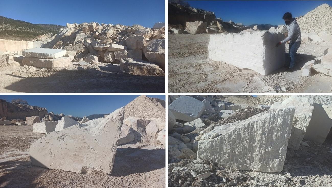 El CTM se desplaza a cantera para la elección del bloque de residuo del sector de la piedra natural que se empleará en la fabricación del arrecife artificial del proyecto CORAL3D