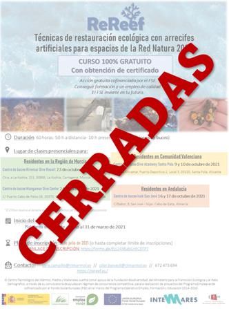 Gran éxito en las inscripciones para la actividad formativa del proyecto ReReef: Técnicas de restauración ecológica con arrecifes